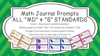 Gr 1 Math Journal Prompts/Topic Common Core COLOR MD G Mea