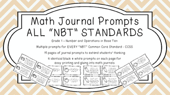 Gr 1 Math Journal Prompts/Topics Common Core B&W NBT Numbe