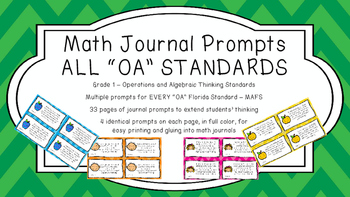 Gr 1 Math Journal Prompts/Topics Florida Standards COLOR O