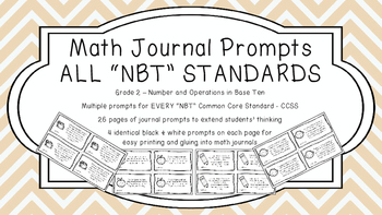 Gr 2 Math Journal Prompts/Topics Common Core B&W NBT Numbe