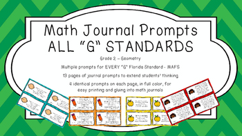Gr 2 Math Journal Prompts/Topics Florida Standards COLOR G