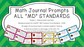 Gr 3 Math Journal Prompts/Topic Common Core COLOR MD Measu