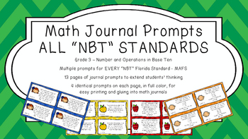 Gr 3 Math Journal Prompts/Topic Florida Standards COLOR NB