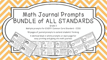 Gr 3 Math Journal Prompts/Topics Common Core B&W EVERY STA