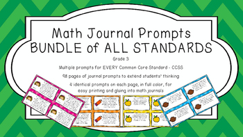 Gr 3 Math Journal Prompts/Topics Common Core Color EVERY S