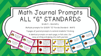Gr 3 Math Journal Prompts/Topics Florida Standards COLOR G