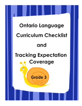 Gr 3 Ontario Language Curriculum Checklist and Tracking Co