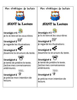 Gr. 4-6 'Avant la Lecture (Pre-Reading)' Bookmarks