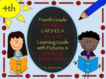 Gr 4 LAFS RL & RI Goals 2 Sets of Rubrics, Graphics & Self