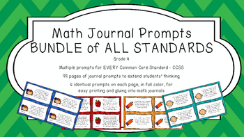Gr 4 Math Journal Prompts/Topics Common Core COLOR EVERY S