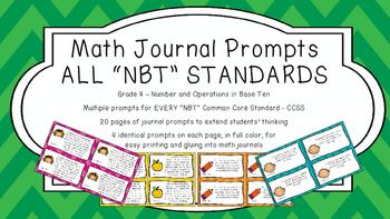Gr 4 Math Journal Prompts/Topics Common Core COLOR NBT Num