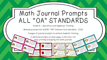 Gr 5 Math Journal Prompt/Topic Common Core COLOR OA Operat