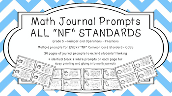 Gr 5 Math Journal Prompts/Topics Common Core B&W NF Number