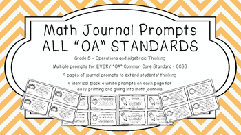 Gr 5 Math Journal Prompts/Topics Common Core B&W OA Operat