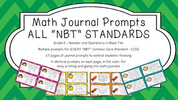 Gr 5 Math Journal Prompts/Topics Common Core COLOR NBT Num