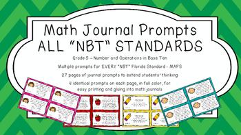 Gr 5 Math Journal Prompts/Topics Florida Standard COLOR NB