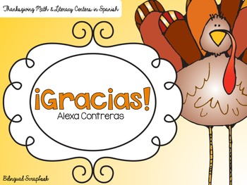 Gracias {Thanksgiving Math and Literacy Centers in Spanish}
