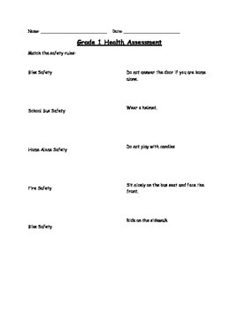 Grade 1 & 2 Safety Quizzes