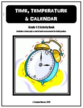 Grade 1 & 2 Time, Temperature & Calendar Workbook with Ass