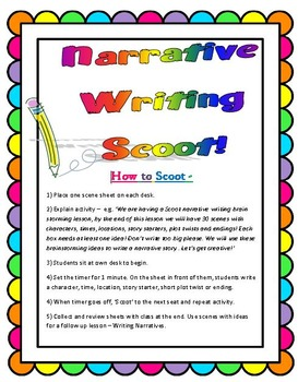 Narrative Writing Scoot or Writing Prompt Cards - Scenes +