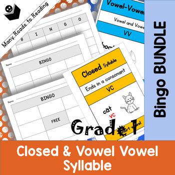 Grade 1 Closed & Vowel Vowel Bingo Game BUNDLE