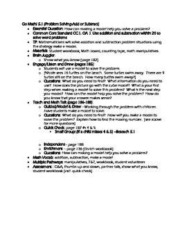 Grade 1 Go Math! Chapter 5 Lesson Plans (Based on School Y