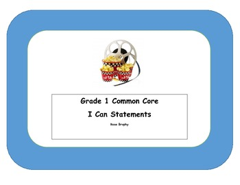 Grade 1 Language  I Can Statements Hollywood Movie Theme