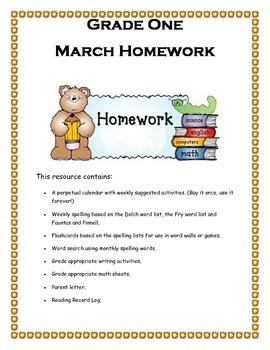 Grade 1 March homework Calendar