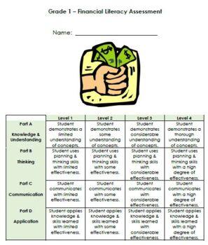 Grade 1 Money Assessment