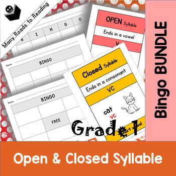 Grade 1 Open & Closed Bingo Game BUNDLE
