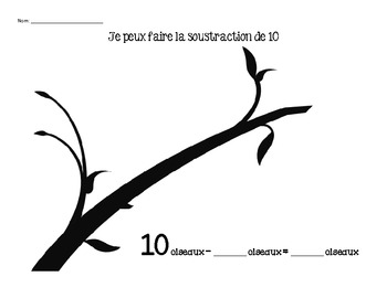 Grade 1- Subtraction from 10 and 20- French Immersion