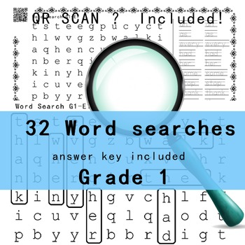 Grade 1 Word Search -32 pages with answer keys QR scan