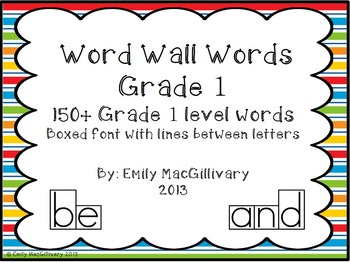 Grade 1(First) Word Wall: Boxed Font with Line between Let