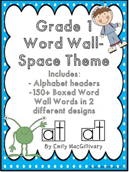 Grade 1 Word Wall: Space Kids Theme (Over 150 Words)