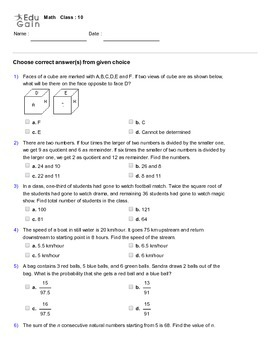 Grade 10 HOTS, Mathematical Olympiad, IMO, AMC Worksheet