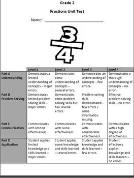 Grade 2 Fractions Assessment
