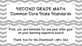 """Grade 2 """"I Can"""" Math Common Core State Standards"""