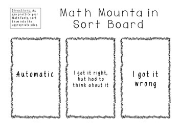 Grade 2 Math Expressions Math Mountain Sorting Board