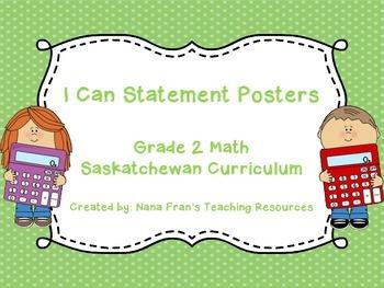 Grade 2 Math I Can Statement Posters - Saskatchewan