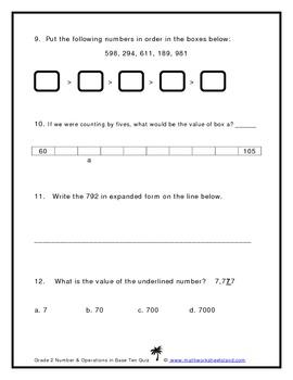 Grade 2 Number & Operations in Base Ten Quiz
