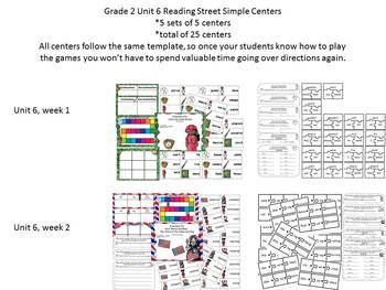 Grade 2 Reading Street Simple Centers Unit 6 Bundled set