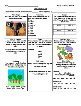 Grade 2 Reading Wonders Choice Board - Unit 2 Week 3