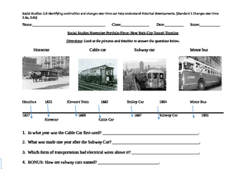 Grade 2 SS: NYC Transit Timeline Portfolio, Rubric, and BB