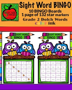 Grade 2 Sight Word BINGO color ink (Daycare Support by Pri