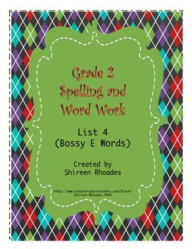 Jigsaw Grade 2 Spelling and Word Work List 4 (Long Vowels)