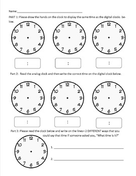 Grade 2 Telling Time Assessment