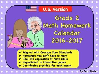 Grade 2 U.S. Math Homework Calendar - 2016-2017 - (Common
