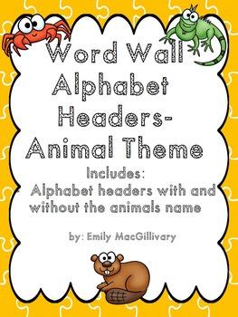 Word Wall Alphabet Headers: Animal Theme