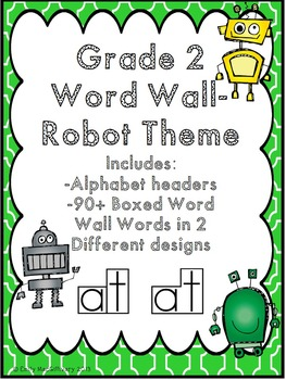 Grade 2 Word Wall: Robot Theme (Over 90 Words)