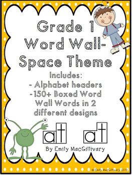 Grade 2 Word Wall: Space Kids Theme (Over 90 Words)